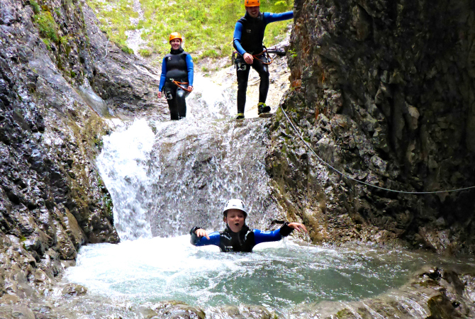 Familie Canyoning Spaß Lechtal