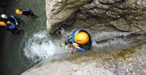 Rutschen beim Canoning im Lechtal Tirol